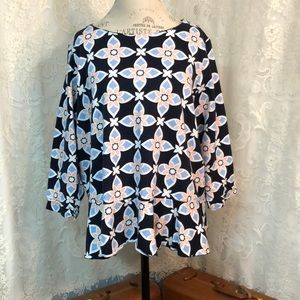 Crown & Ivy navy, pink and blue pattern top